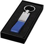 Műbőr kulcstartó fém lemezzel, ezüst/kék